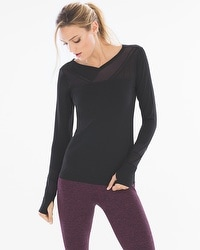 Slimming Miraclesuit Sport Mesh Insert Long Sleeve Top Black