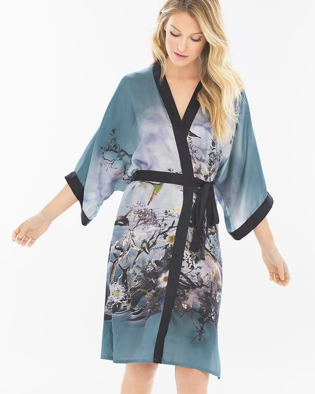 Classics Silk Kimono Robe Birds On The Lake