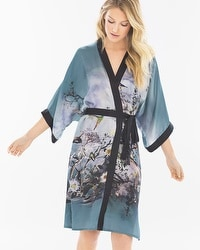 Samantha Chang Classics Silk Kimono Robe Birds On The Lake