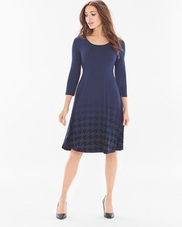 3/4 Sleeve Fit and Flare Short Dress Houndstooth Ombre Navy