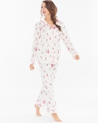 BedHead Pajamas Cotton Blend PJ Set Pink Ski Bunnies