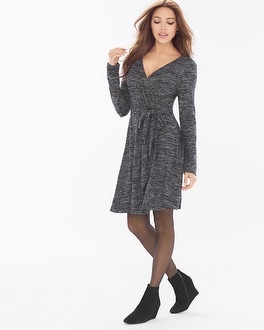 Melange Faux Wrap Short Dress Black/Silver