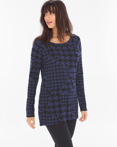 Divine Terry High Low Tunic Houndstooth Mix Navy