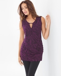 Live. Lounge. Wear. Sleeveless Keyhole Wrap Tunic Linework Floral Warm Plum