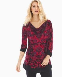 Shirred Boatneck Tunic Legacy Blackberry
