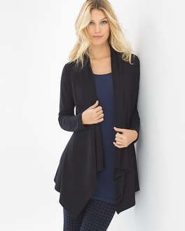 Live. Lounge. Wear. Divine Terry Shirred Back Wrap Black