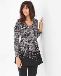 Live. Lounge. Wear. Long Sleeve Pleated Tunic Captivating Border Black