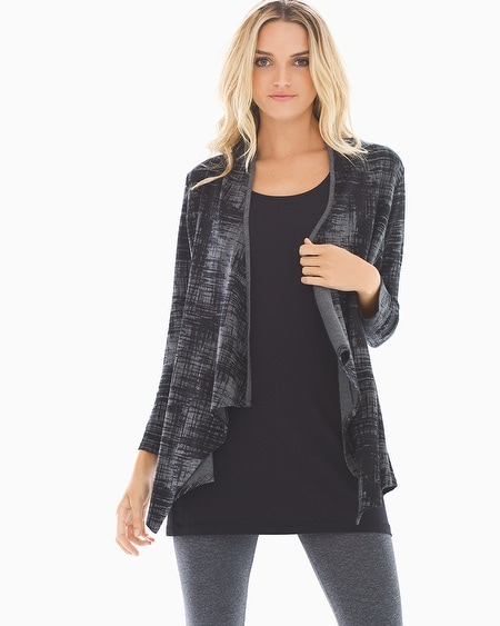 Divine Terry Shirred Back Wrap Abstract Plaid