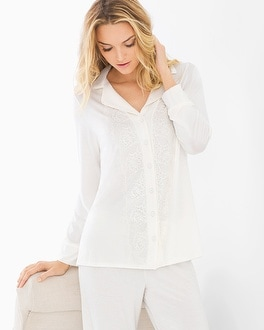 Limited Edition Breathtaking Long Sleeve Pajama Top Ivory