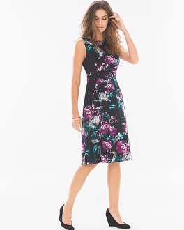 Sleeveless A-line Short Dress Midnight Floral Blackberry