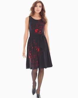Floral Belted Sleeveless Fit and Flare Short Dress Moody Floral