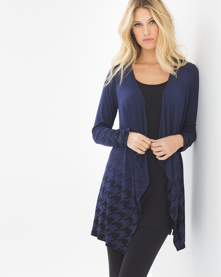 Waterfall Wrap Houndstooth Ombre Navy