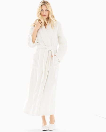 Long Plush Robe Ivory
