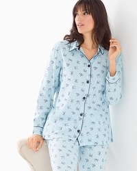 Cozy Woven Cotton Blend Pajama Top Pretty Bows Blue Crystal