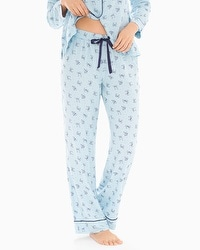 Cozy Woven Cotton Blend Pajama Pants Pretty Bows Blue Crystal