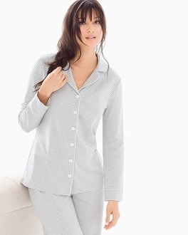 Embraceable Long Sleeve Notch Collar Pajama Top Ribbon Stripe