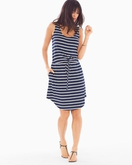 Soft Jersey Drawstring Sleeveless Tank Dress Aerial Stripe Navy