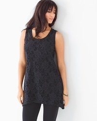 Soft Jersey Sleeveless Flyaway Lace Tunic
