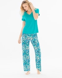Cool Nights Short Sleeve Pajama Set Beguiling Tile Viridian