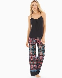 In Bloom Meander Pajama Pants Set Sapphire Red Multi