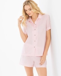 Natori Cotton Sateen Short Sleeve Shorts Pajama Set