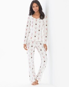 BedHead Cotton Blend Knit Long Sleeve Scoopneck Pajama Set