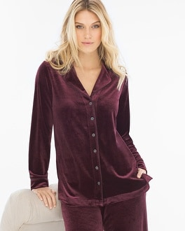 Velvet Long Sleeve Notch Collar Pajama Top Merlot