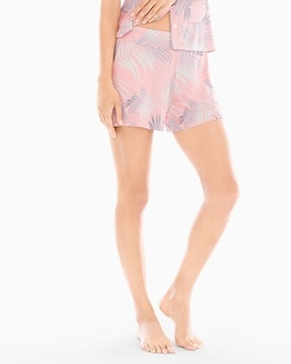 Cool Nights Full Tap Pajama Shorts Hola Palm Pink Icing