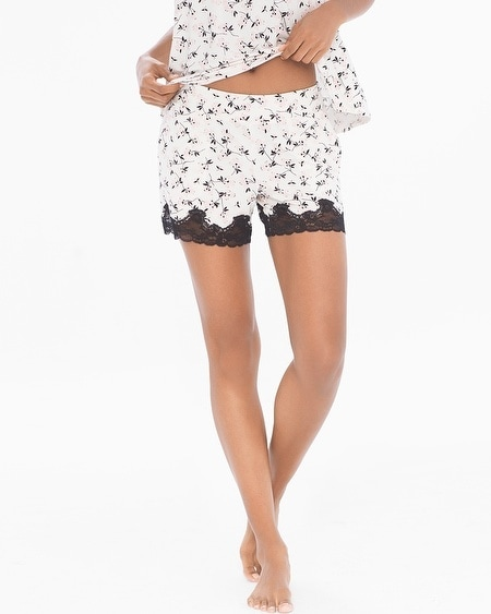 Lace-trimmed Pajama Shorts Graceful Bloom Ivory
