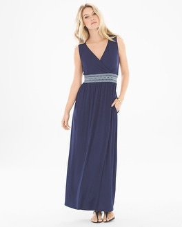 Sleeveless Smocked Waist Maxi Dress Navy