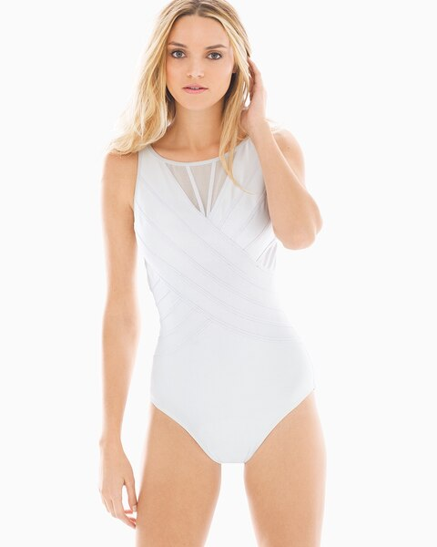 Soma Miraclesuit Illusionists High Neck One Piece Swimsuit, White, Size 14