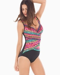 Miraclesuit Night Lights Layered Escape One Piece Swimsuit