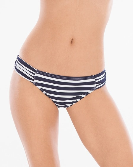Breton Stripe Shirred Hipster Swim Bottom