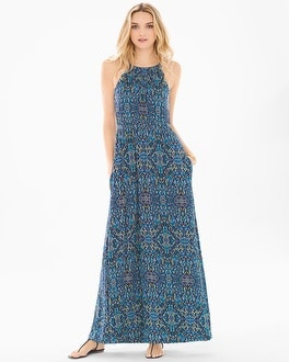 Sleeveless Draped Maxi Dress Porto Tile Navy