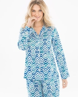 Crepe de Chine Long Sleeve Notch Collar Pajama Top