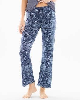 P.J. Salvage Blue Patik Cotton Blend Pajama Pants Navy