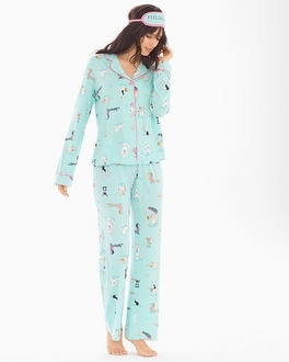 P.J. Salvage Playful Prints Long Sleeve Cotton Blend Pajama Set with Eye Mask