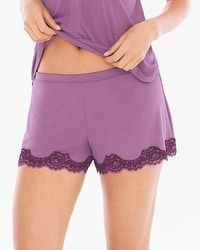 Delicate Floral Lace Cool Nights Pajama Shorts Plum Wine