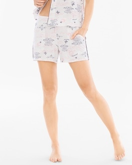 Cool Nights Contrast Piped Pajama Shorts