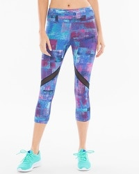 Soma Sport Blocked Crop Leggings With Mesh Prism Blue Sea