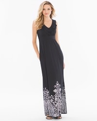 Soft Jersey Ruffle Trim Sleevless Maxi Dress