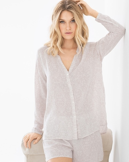 Lara Long Sleeve Pajama Top Oriental Print