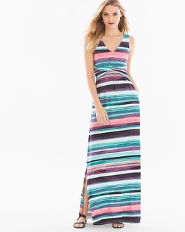 Soft Jersey Knotted Waist Sleeveless Maxi Dress