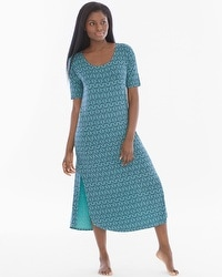 Cool Nights 3/4 Sleeve Sleepshirt Arched Scroll Teal