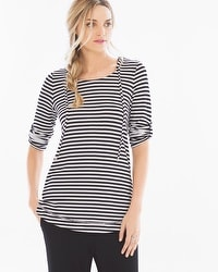 French Terry Tab Sleeve Pullover Hoodie Stripe Black/White