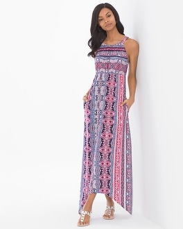 Soft Jersey Sleeveless High Neck Midi Dress