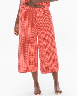 Cool Nights Full Pajama Crop Pants Mod Dot Grenadine