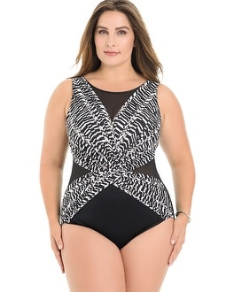 Miraclesuit Plus Size Between the Pleats Palma One Piece Swimsuit