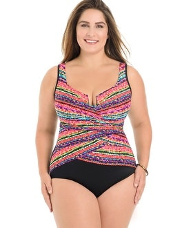 Miraclesuit Plus Size Night Lights Layered Escape One Piece Swimsuit