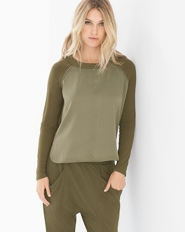 X by Gottex Fabric Mixing Long Sleeve Tee